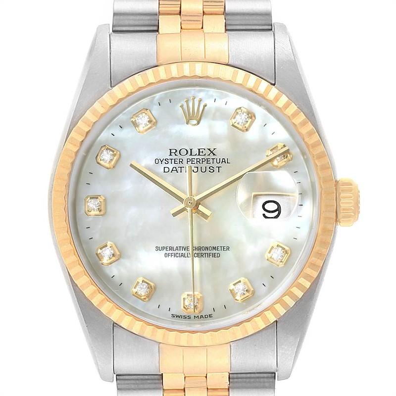 Rolex Datejust Steel Yellow Gold Mother of Pearl Diamond Mens Watch 16233 SwissWatchExpo