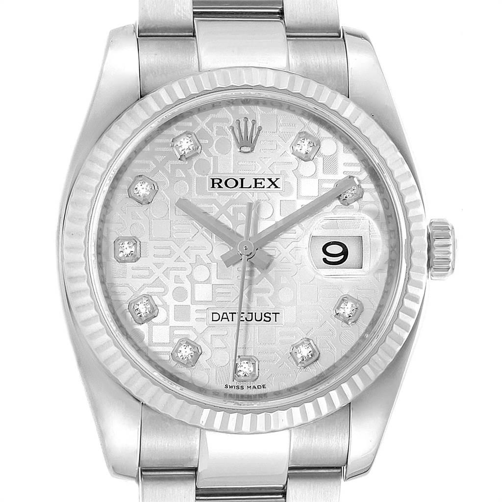 882bbe2621a ... 23053 Rolex Datejust Steel White Gold Jubilee Diamond Dial Mens Watch  116234 SwissWatchExpo ...