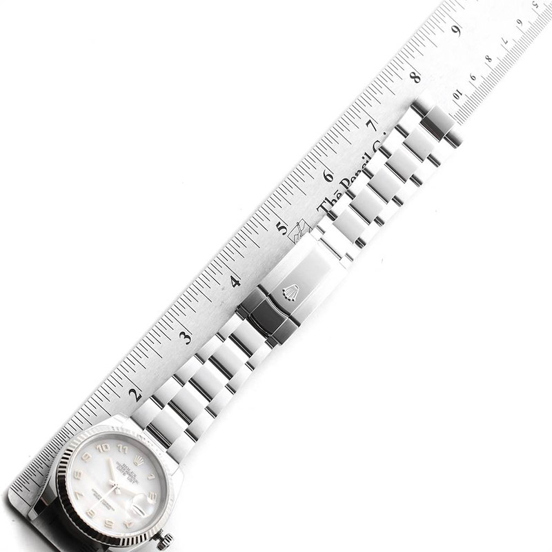 Rolex Datejust 36 Steel White Gold Mother of Pearl Mens Watch 116234 SwissWatchExpo