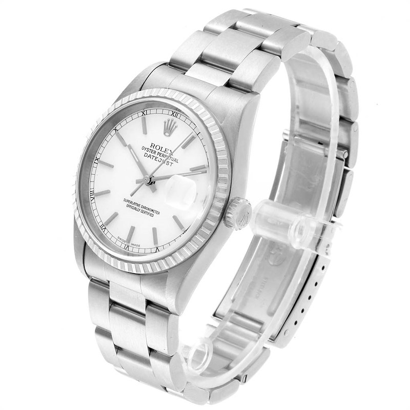 Rolex DateJust 36 White Dial Steel Mens Watch 16220 Box Papers SwissWatchExpo