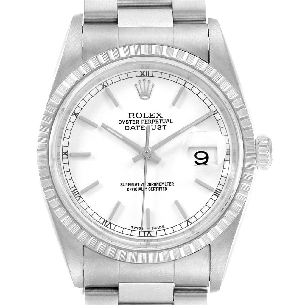 22644 Rolex DateJust 36 White Dial Steel Mens Watch 16220 Box Papers SwissWatchExpo