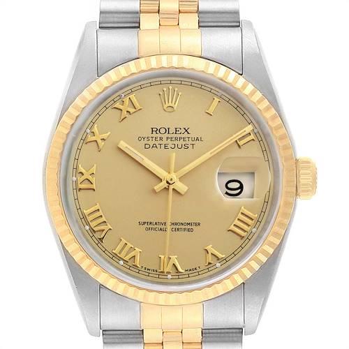 Photo of Rolex Datejust Steel 18K Yellow Gold Roman Dial Mens Watch 16233