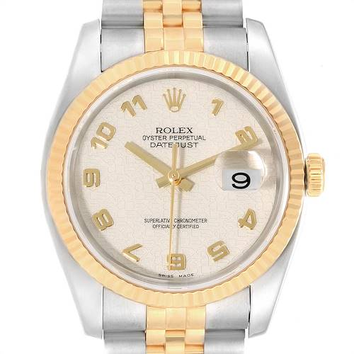 Photo of Rolex Datejust Steel Yellow Gold Anniversary Dial Mens Watch 116233