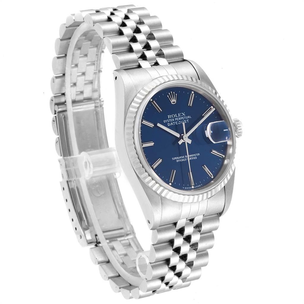 Rolex Datejust 36 Steel White Gold Blue Dial Mens Watch 16234 SwissWatchExpo