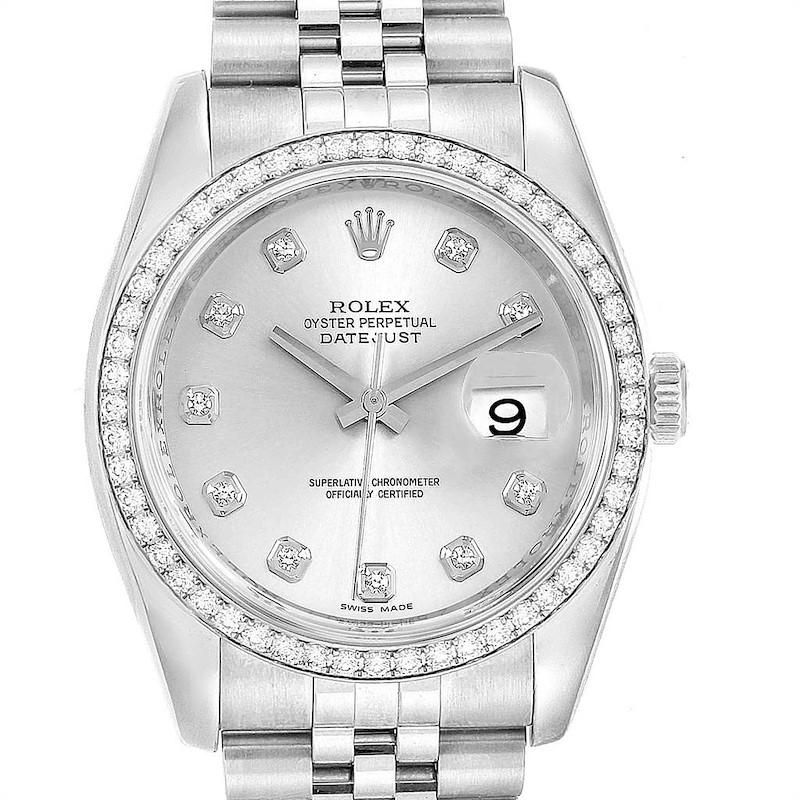Rolex Datejust 36 Silver Diamond Dial Bezel Mens Watch 116244 SwissWatchExpo