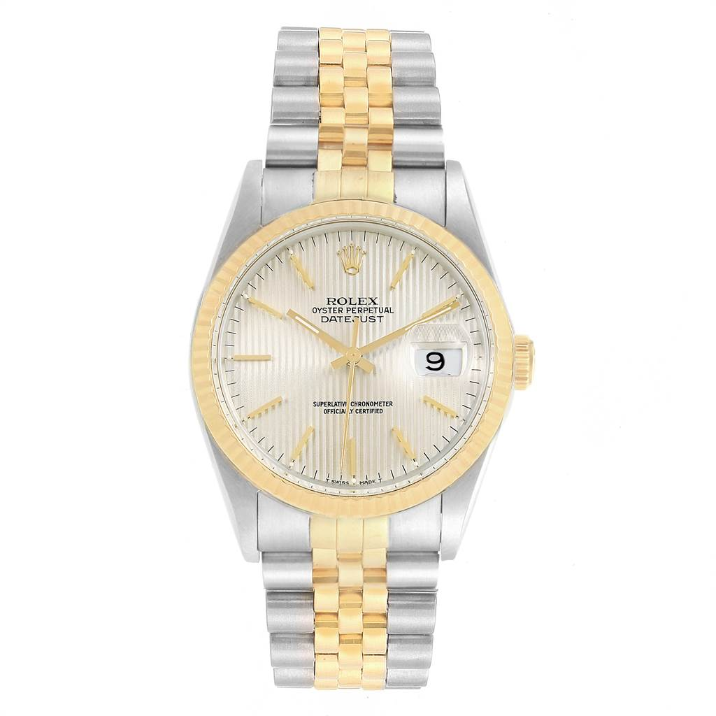 Rolex Datejust Steel Yellow Gold Tapestry Dial Mens Watch 16233 Box Papers SwissWatchExpo