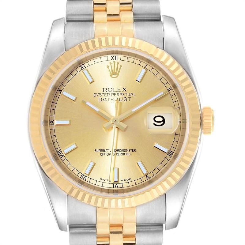 Rolex Datejust 36 Steel Yellow Gold Mens Watch 116233 Box Card SwissWatchExpo