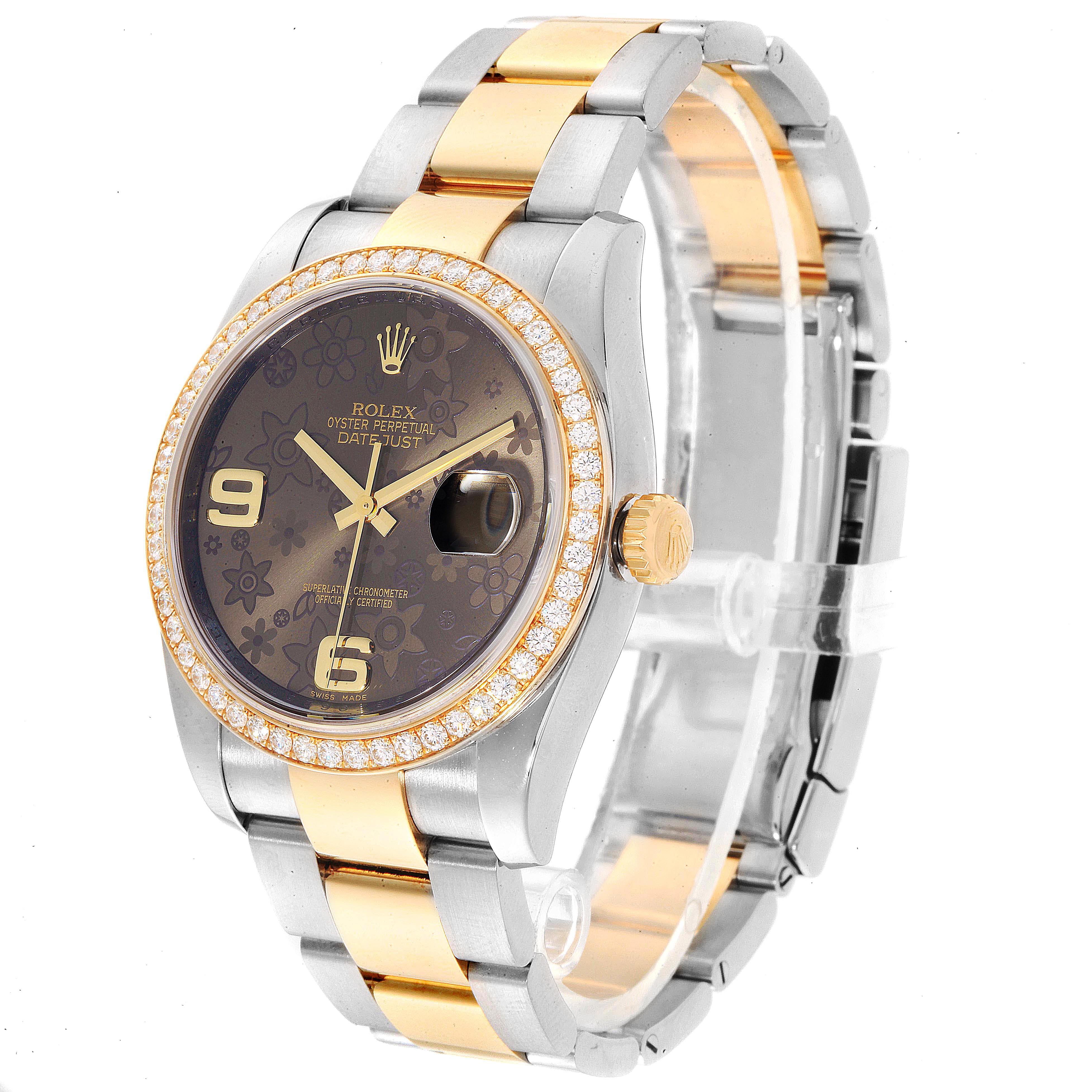 Rolex Datejust 36 Steel Yellow Gold Bronze Flower Dial Watch 116243 SwissWatchExpo