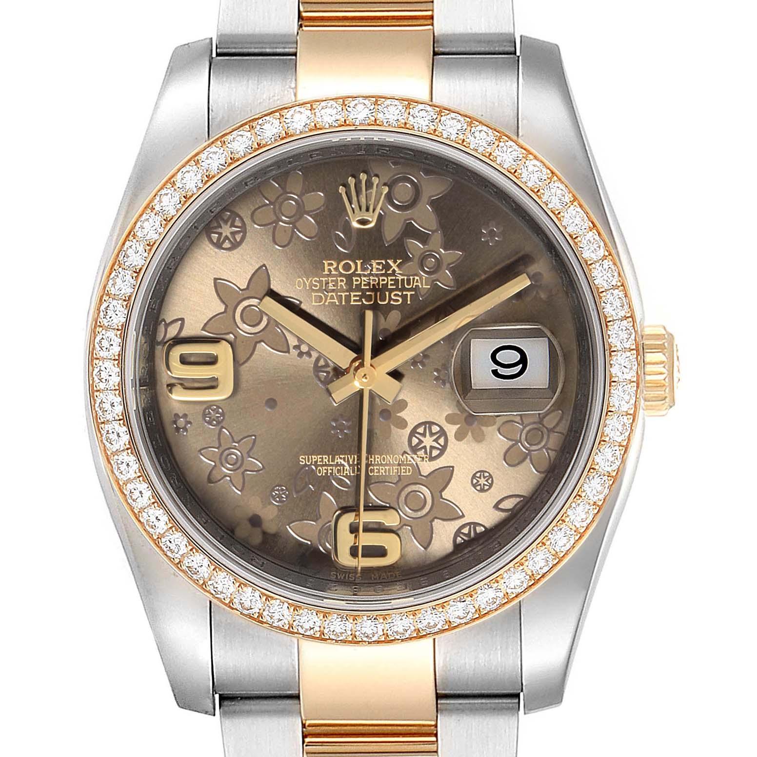 Photo of Rolex Datejust 36 Steel Yellow Gold Bronze Flower Dial Watch 116243