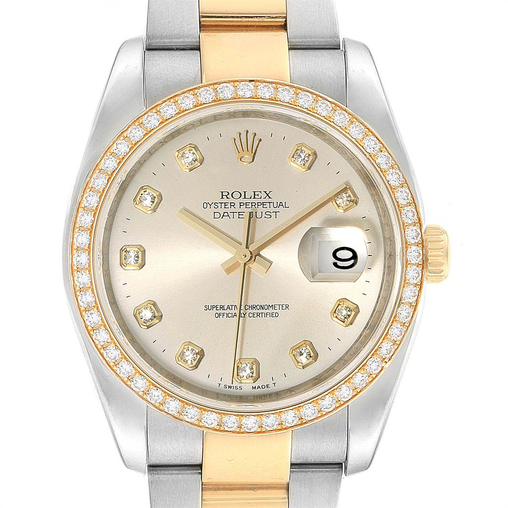 Rolex Datejust 36 Steel Yellow Gold Diamond Mens Watch 116243 Box Card