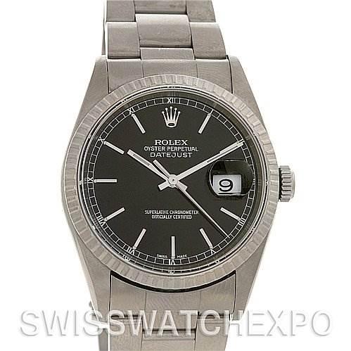 2532 Rolex Datejust Mens Ss Black Stick Dial Watch 16200 SwissWatchExpo