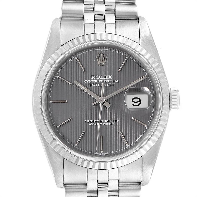 Rolex Datejust 36 Steel White Gold Grey Tapestry Dial Mens Watch 16234 SwissWatchExpo