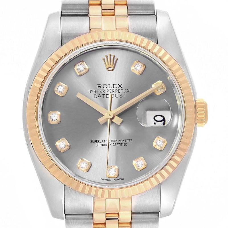 Rolex Datejust 36 Steel Yellow Gold Diamond Mens Watch 116233 Box SwissWatchExpo