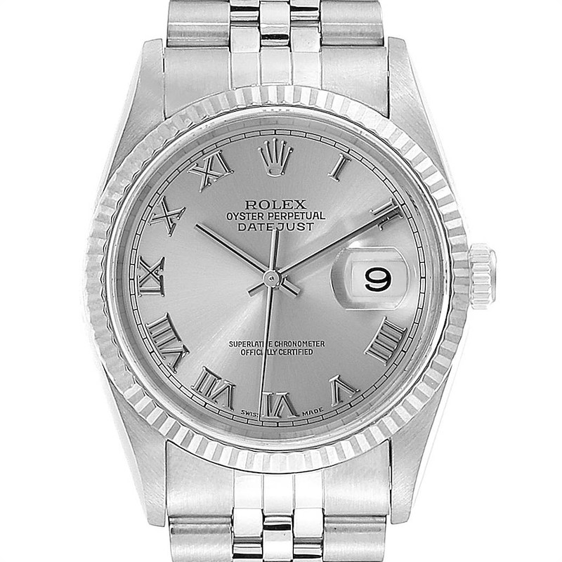 Rolex Datejust 36 Steel White Gold Silver Roman Dial Mens Watch 16234 SwissWatchExpo