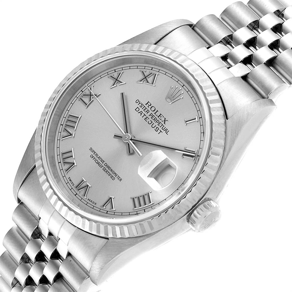 22681 Rolex Datejust 36 Steel White Gold Silver Roman Dial Mens Watch 16234  SwissWatchExpo