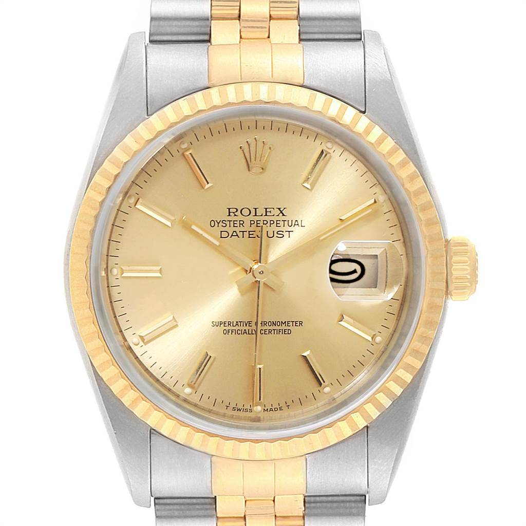23108 Rolex Datejust 36 Steel 18K Yellow Gold Mens Watch 16233 Box Papers SwissWatchExpo