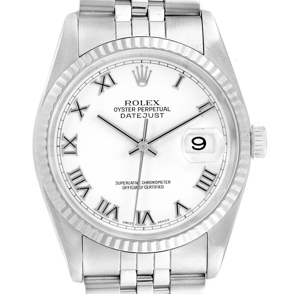 23310 Rolex Datejust 36 Steel White Gold Fluted Bezel Mens Watch 16234 SwissWatchExpo