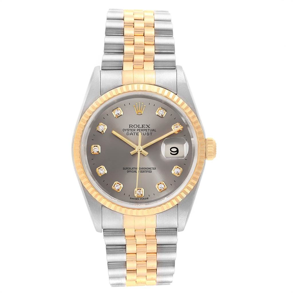 23360 Rolex Datejust 36 Steel Yellow Gold Diamond Mens Watch 16233 Box Papers SwissWatchExpo