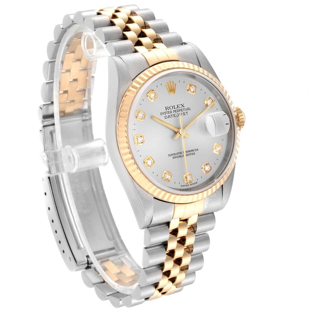 23013 Rolex Datejust 36 Steel Yellow Gold Diamond Mens Watch 16233 Box Papers SwissWatchExpo