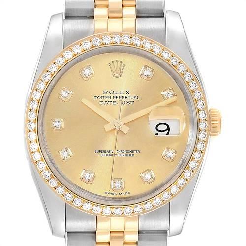 Photo of Rolex Datejust 36 Steel Yellow Gold Diamond Mens Watch 116243