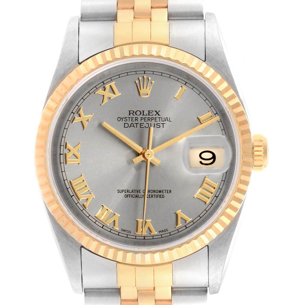 Rolex Datejust Steel Yellow Gold Slate Dial Mens Watch 16233 Unworn NOS SwissWatchExpo