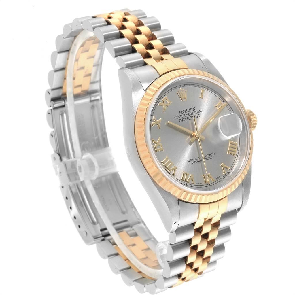 23384 Rolex Datejust Steel Yellow Gold Slate Dial Mens Watch 16233 Unworn NOS SwissWatchExpo