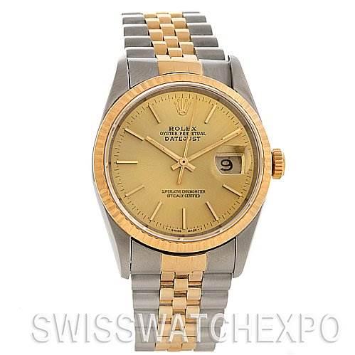 2546 Rolex Rolex Datejust Watch Champagne Dial 16233 SwissWatchExpo