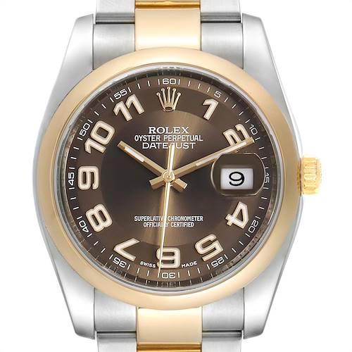 Photo of Rolex Datejust 36 Steel Yellow Gold Brown Dial Mens Watch 116203