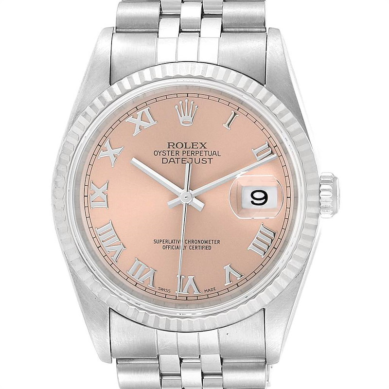 Rolex Datejust 36 Steel White Gold Salmon Roman Dial Mens Watch 16234 SwissWatchExpo