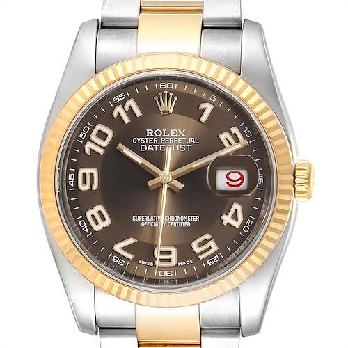 Photo of Rolex Datejust Steel Yellow Gold Brown Dial Mens Watch 116233 Box Card