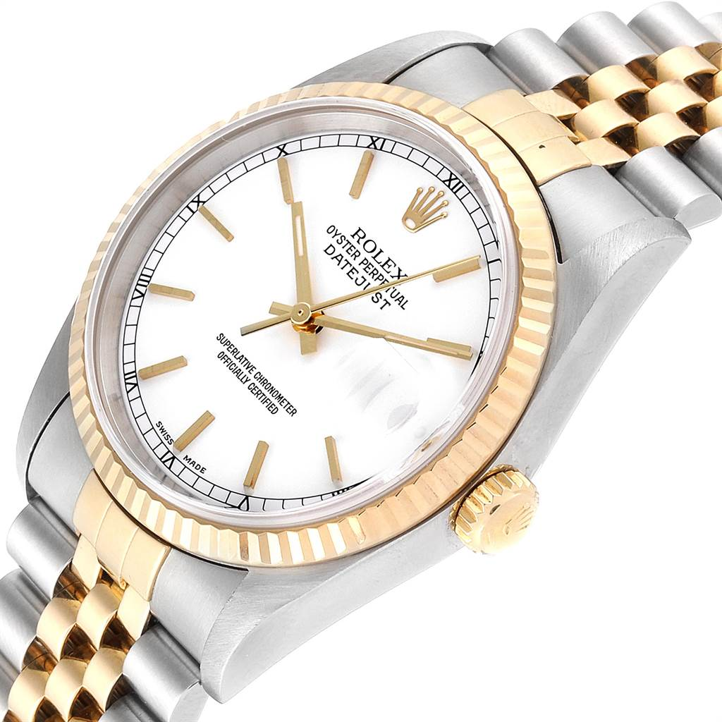Rolex Datejust Steel Yellow Gold White Dial Fluted Bezel Mens Watch 16233 SwissWatchExpo