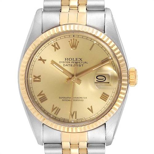 Photo of Rolex Datejust 36 Steel Yellow Gold Vintage Mens Watch 16013 Box Papers