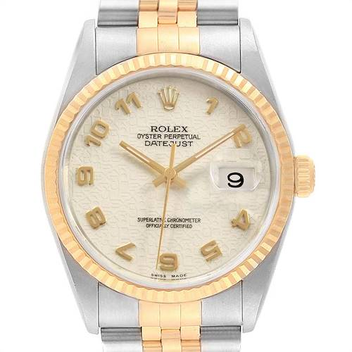 Photo of Rolex Datejust Steel Yellow Gold Anniversary Dial Watch 16233 Box Papers