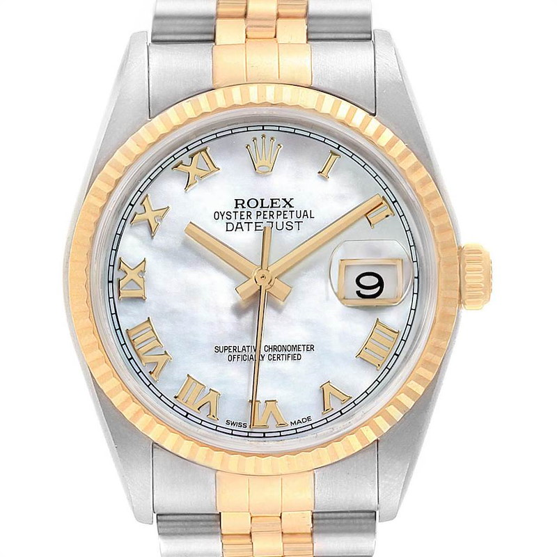 Rolex Datejust Steel Yellow Gold MOP Dial Mens Watch 116233 Box Papers SwissWatchExpo