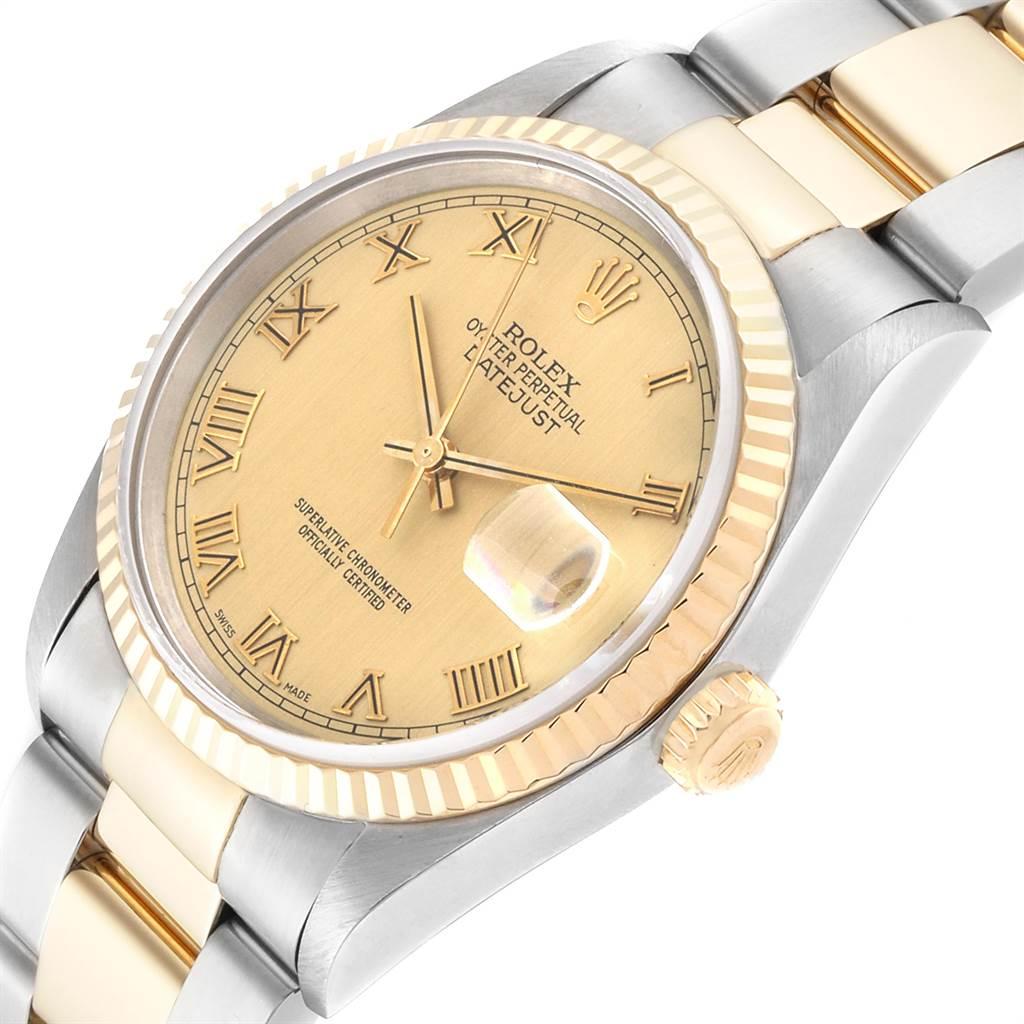 Rolex Datejust Steel Yellow Gold Roman Dial Mens Watch 16233 SwissWatchExpo