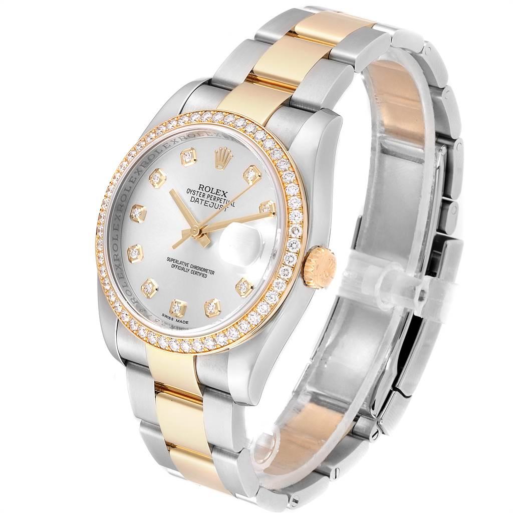 24056 Rolex Datejust 36 Steel Yellow Gold Diamond Mens Watch 116243 Box Card SwissWatchExpo