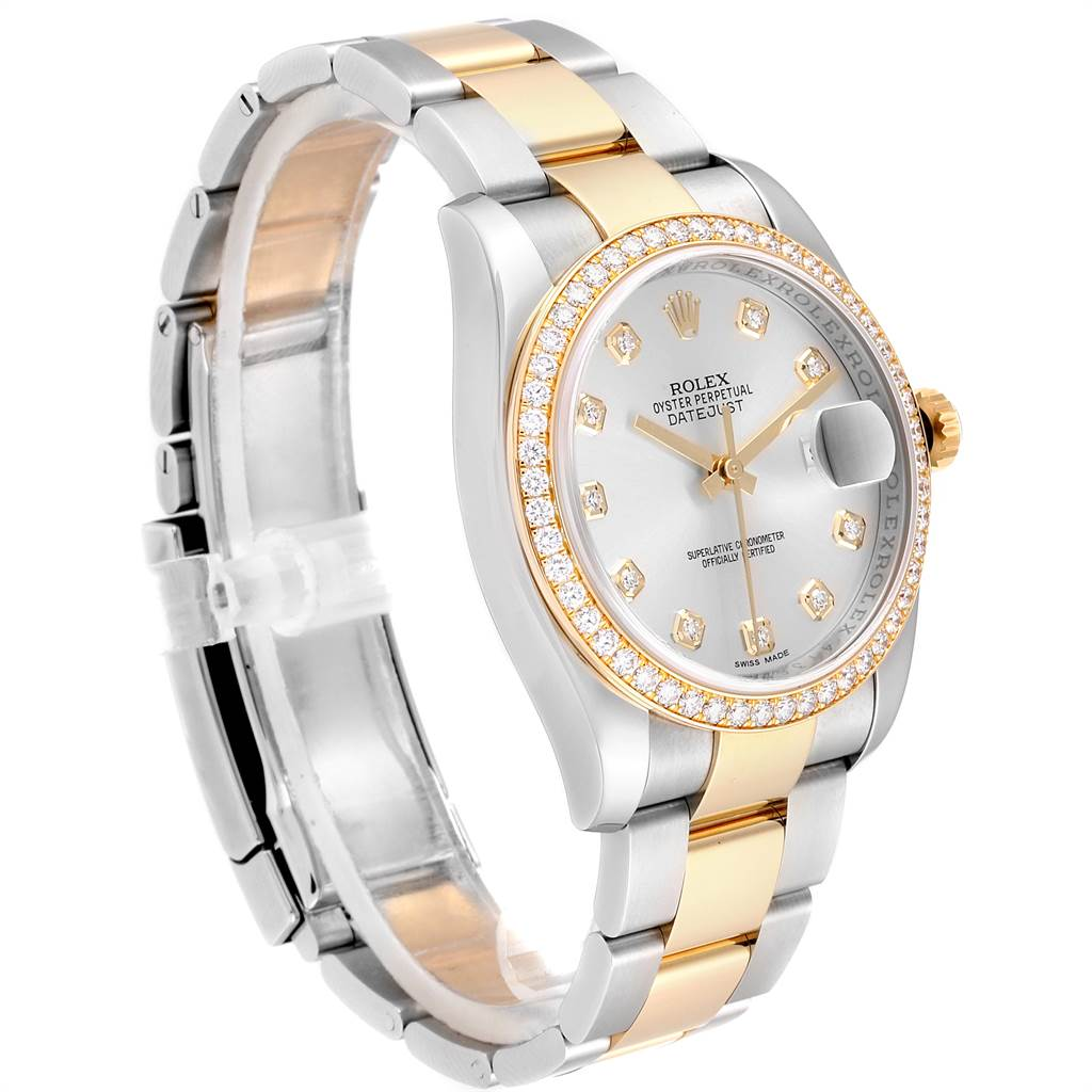 Rolex Datejust 36 Steel Yellow Gold Diamond Mens Watch 116243 Box Card SwissWatchExpo