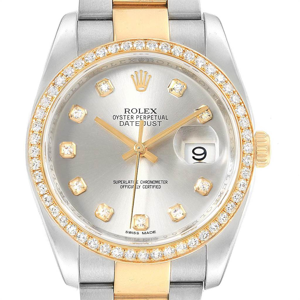 Rolex Datejust 36 Steel Yellow Gold Diamond Mens Watch 116243 Box Card SwissWatchExpo