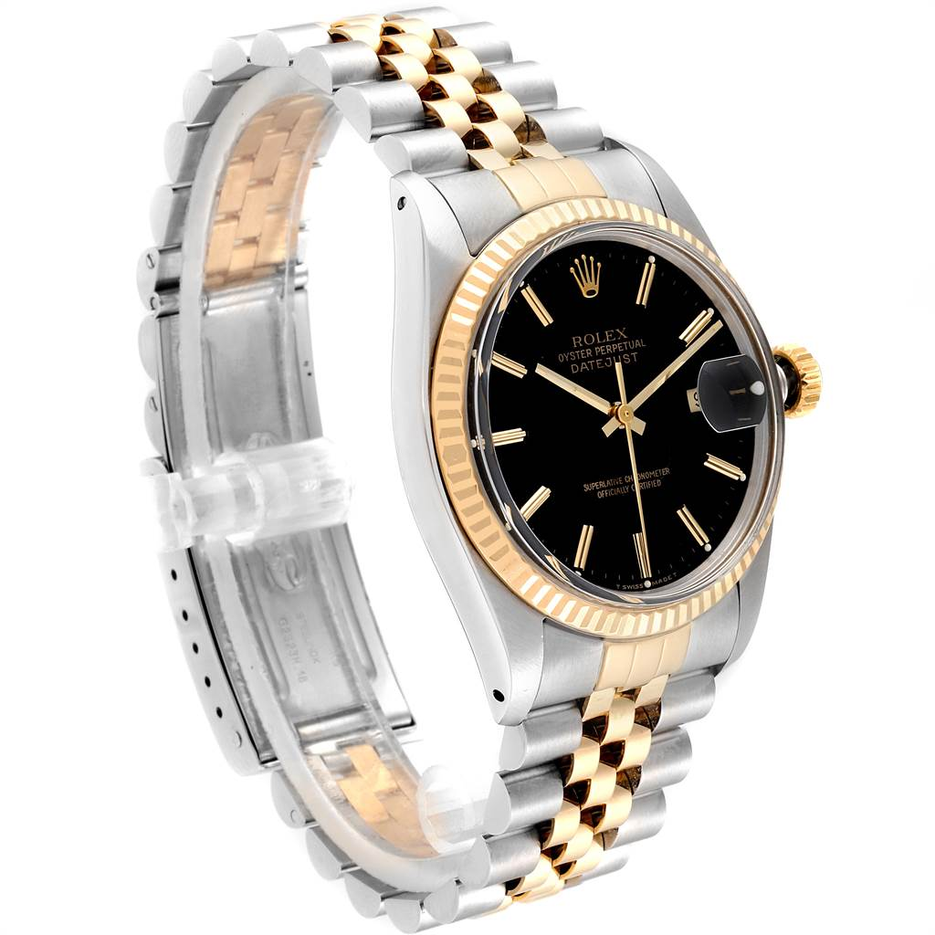 23972 Rolex Datejust Steel Yellow Gold Black Dial Vintage Mens Watch 16013 SwissWatchExpo