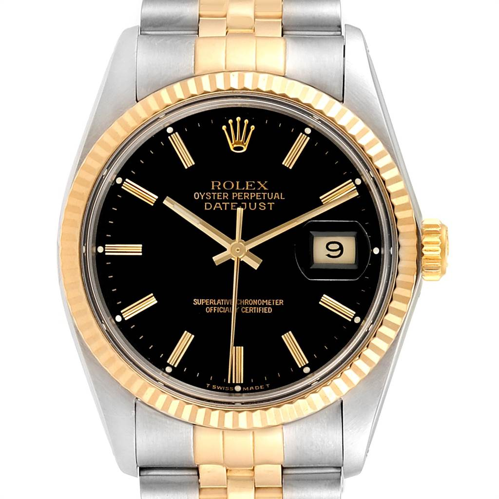 Rolex Datejust Steel Yellow Gold Black Dial Vintage Mens Watch 16013 SwissWatchExpo