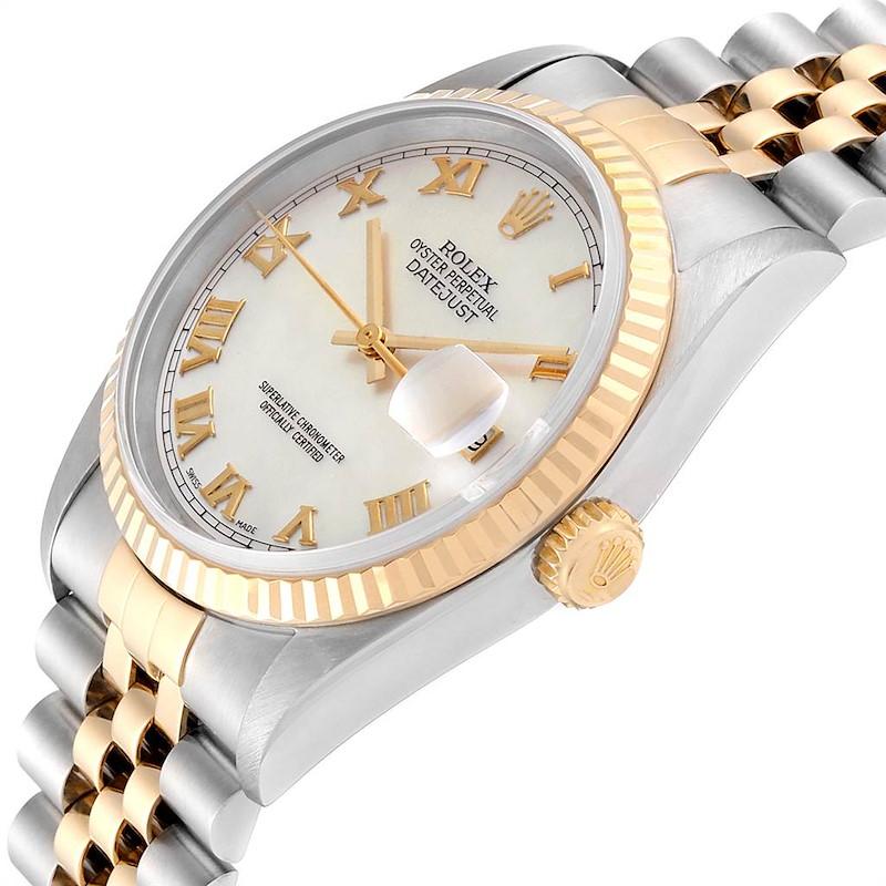 Rolex Datejust 36 Steel Yellow Gold MOP Roman Dial Mens Watch 16233 SwissWatchExpo