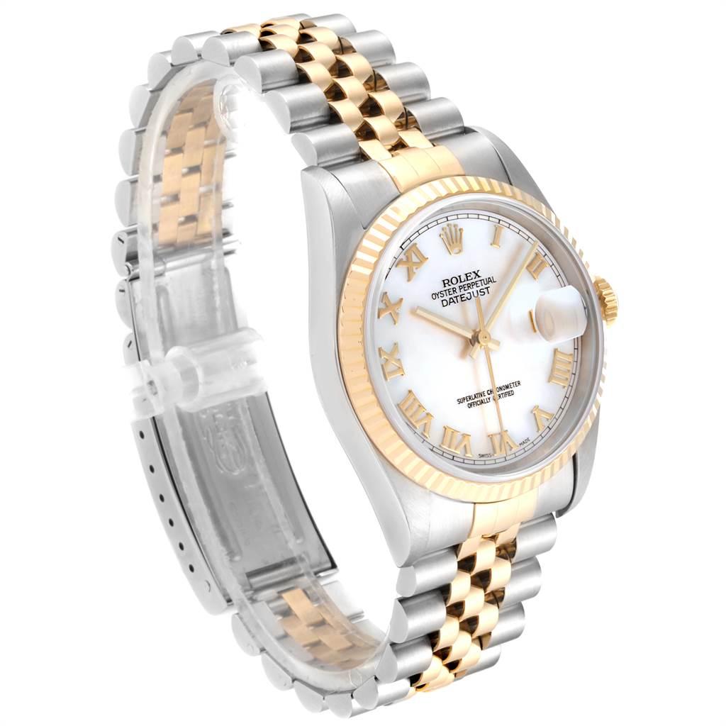 23980 Rolex Datejust 36 Steel Yellow Gold MOP Roman Dial Mens Watch 16233 SwissWatchExpo