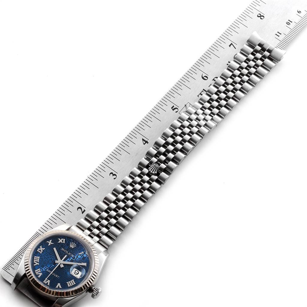 23247A Rolex Datejust Steel White Gold Blue Anniversary Dial Mens Watch 116234 SwissWatchExpo