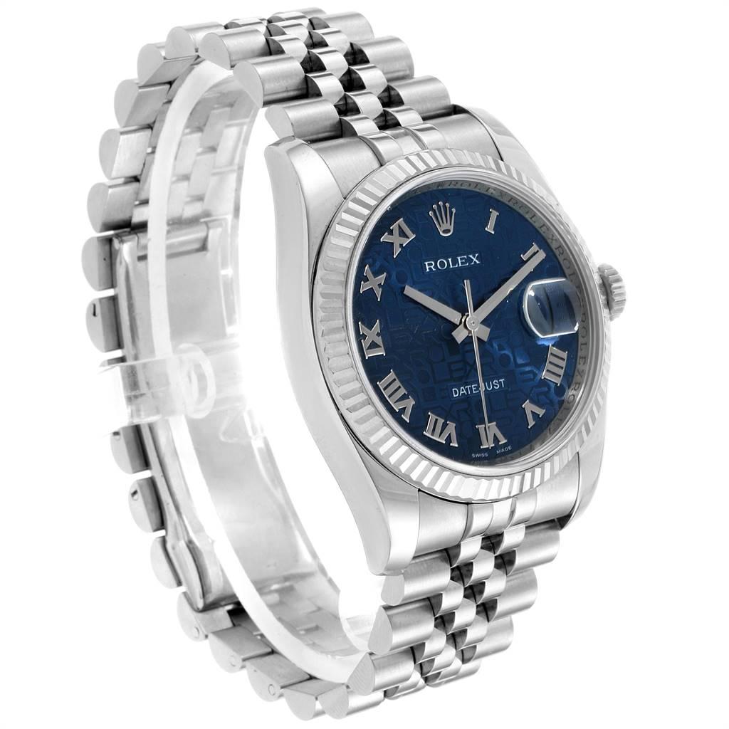 Rolex Datejust Steel White Gold Blue Anniversary Dial Mens Watch 116234 SwissWatchExpo
