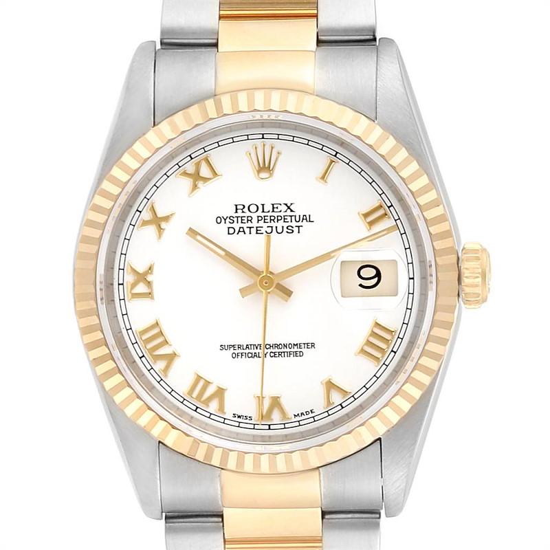 Rolex Datejust Steel 18K Yellow Gold White Dial Mens Watch 16233 SwissWatchExpo