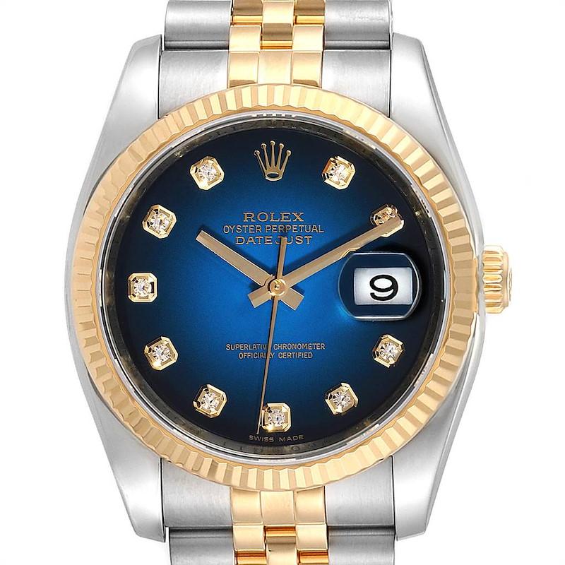 Rolex Datejust Steel Yellow Gold Vignette Diamond Dial Watch 116233 Box Card SwissWatchExpo