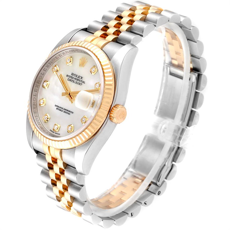 Rolex Datejust Steel Yellow Gold MOP Diamond Dial Watch 116233 Box Card SwissWatchExpo