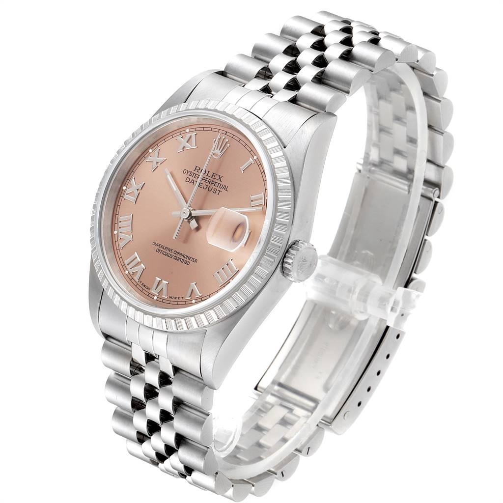 24482 Rolex Datejust 36 Salmon Roman Dial Steel Mens Watch 16220 SwissWatchExpo