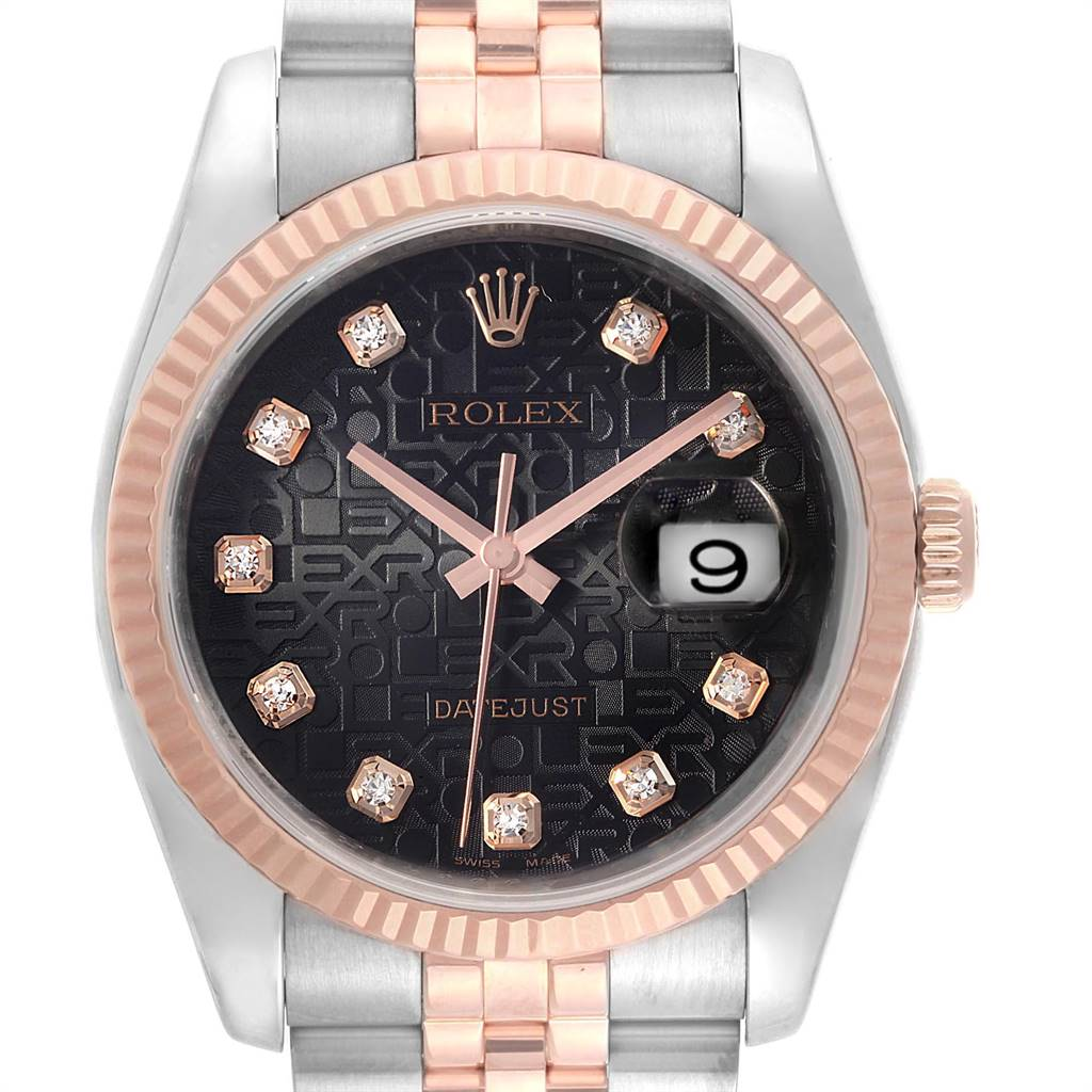 Rolex Datejust 36mm Dial Steel Rose Gold Diamond Unisex Watch 116231 SwissWatchExpo