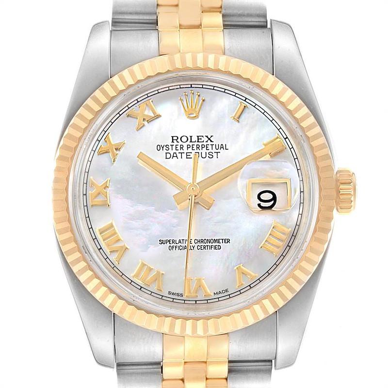 Rolex Datejust 36 Steel Yellow Gold MOP Roman Dial Mens Watch 116233 SwissWatchExpo